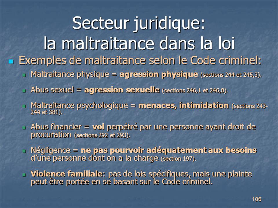 Secteur juridique: la maltraitance dans la loi