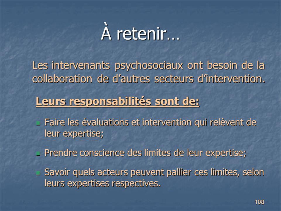 À retenir… Les intervenants psychosociaux ont besoin de la collaboration de d'autres secteurs d'intervention.