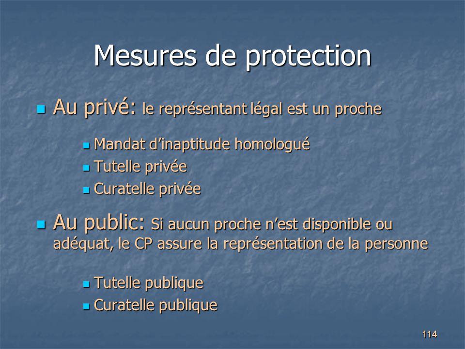 Mesures de protection Au privé: le représentant légal est un proche