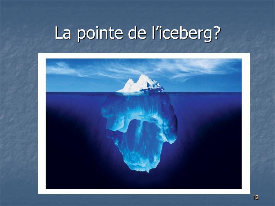 La pointe de l'iceberg Attention aux stats: contexte et objectifs de recherche peuvent influencer les stats…