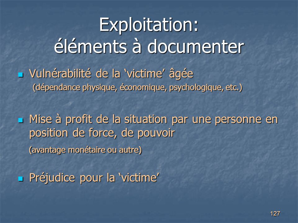 Exploitation: éléments à documenter