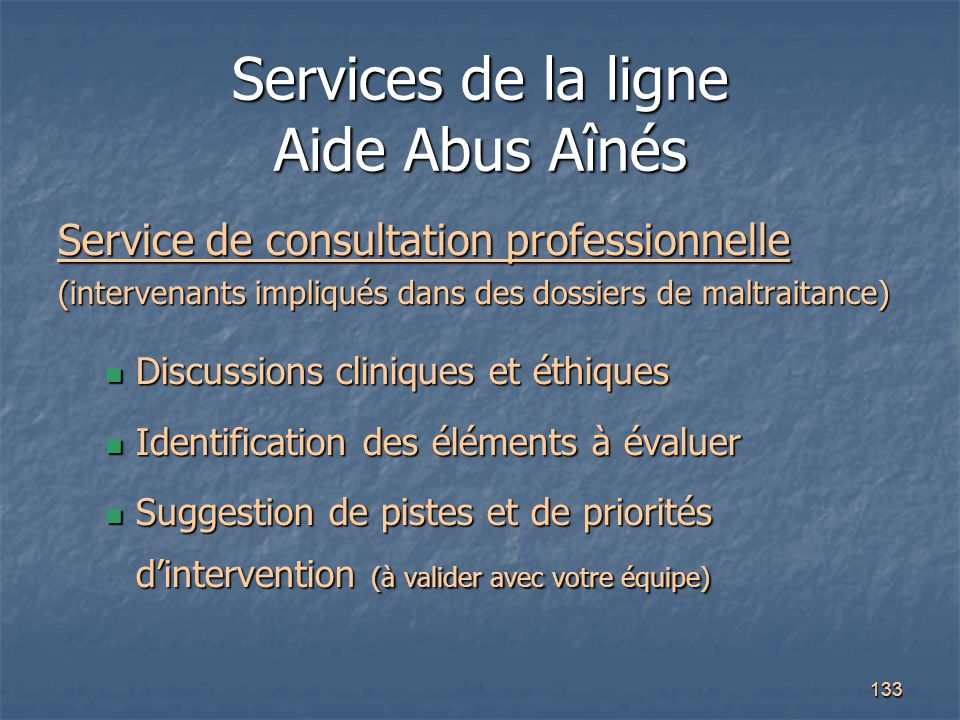 Services de la ligne Aide Abus Aînés