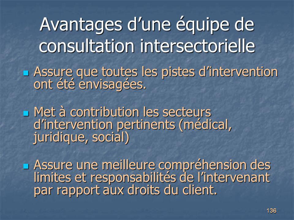 Avantages d'une équipe de consultation intersectorielle