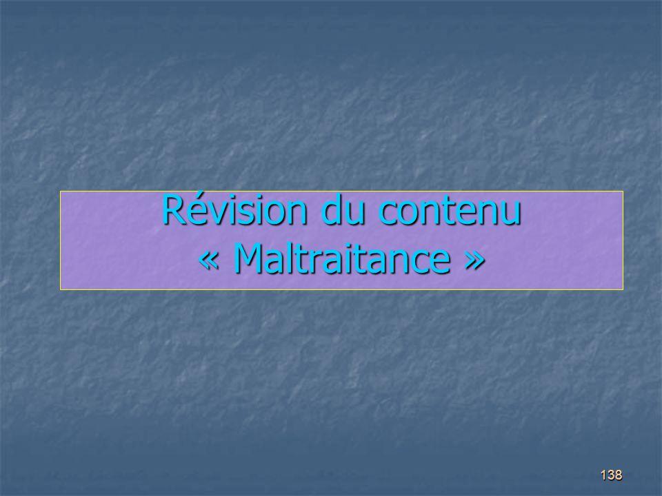 Révision du contenu « Maltraitance »