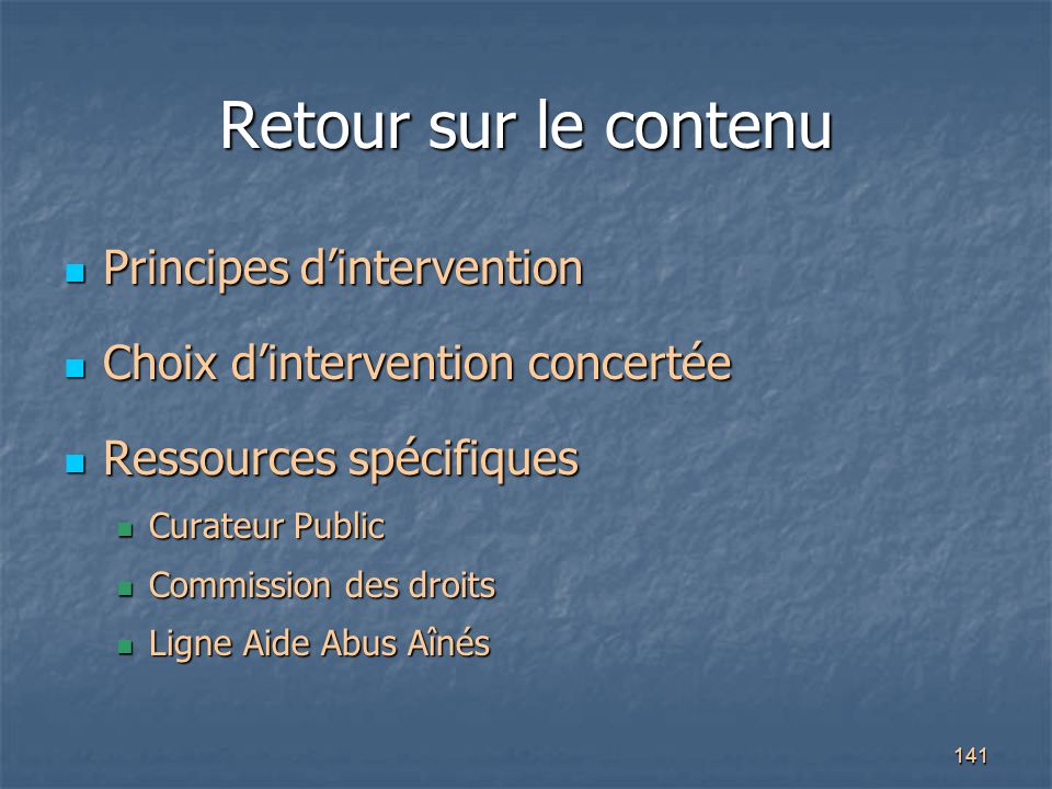 Retour sur le contenu Principes d'intervention