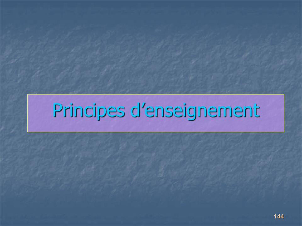 Principes d'enseignement