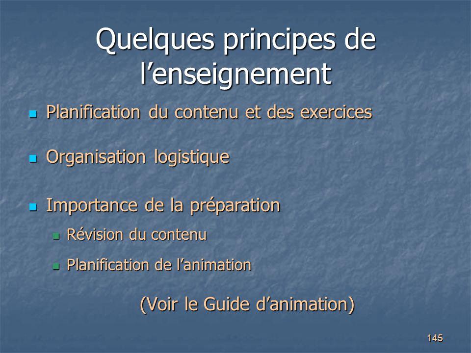 Quelques principes de l'enseignement