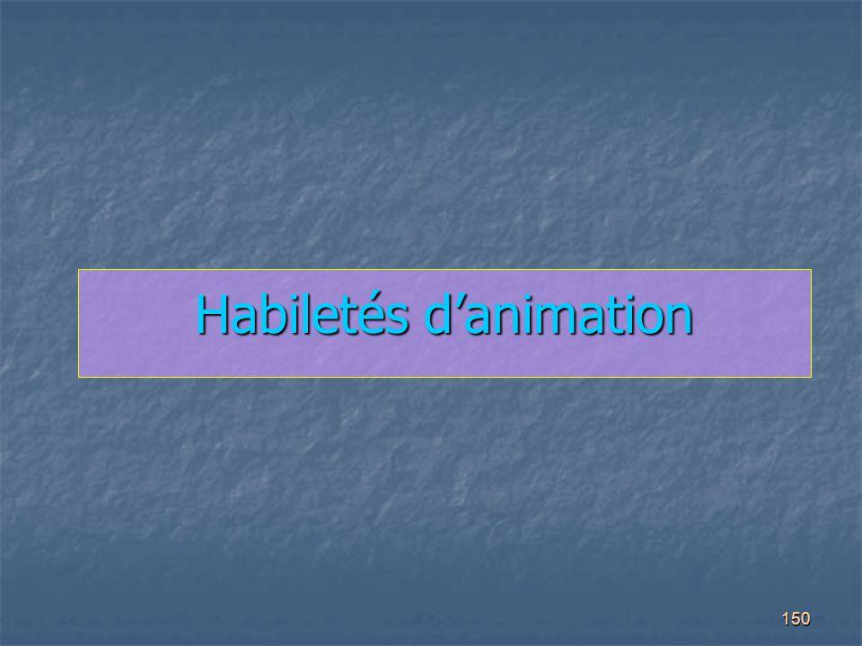 Habiletés d'animation