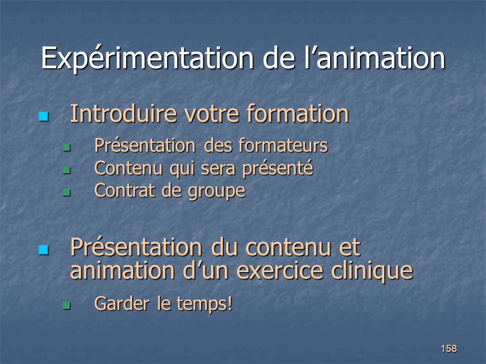 Expérimentation de l'animation