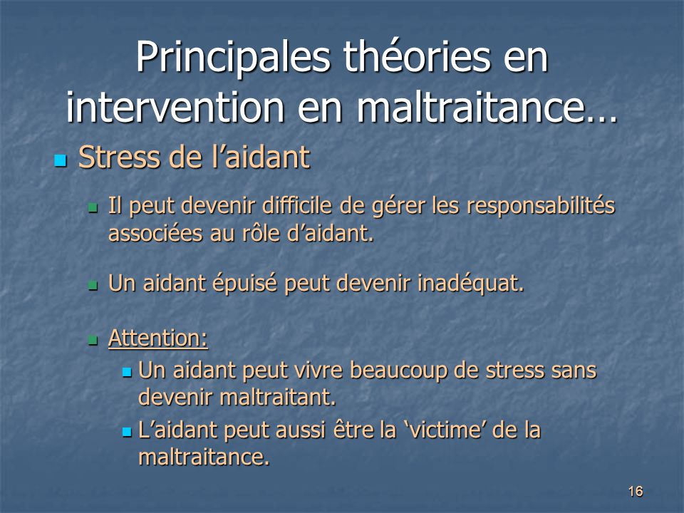 Principales théories en intervention en maltraitance…