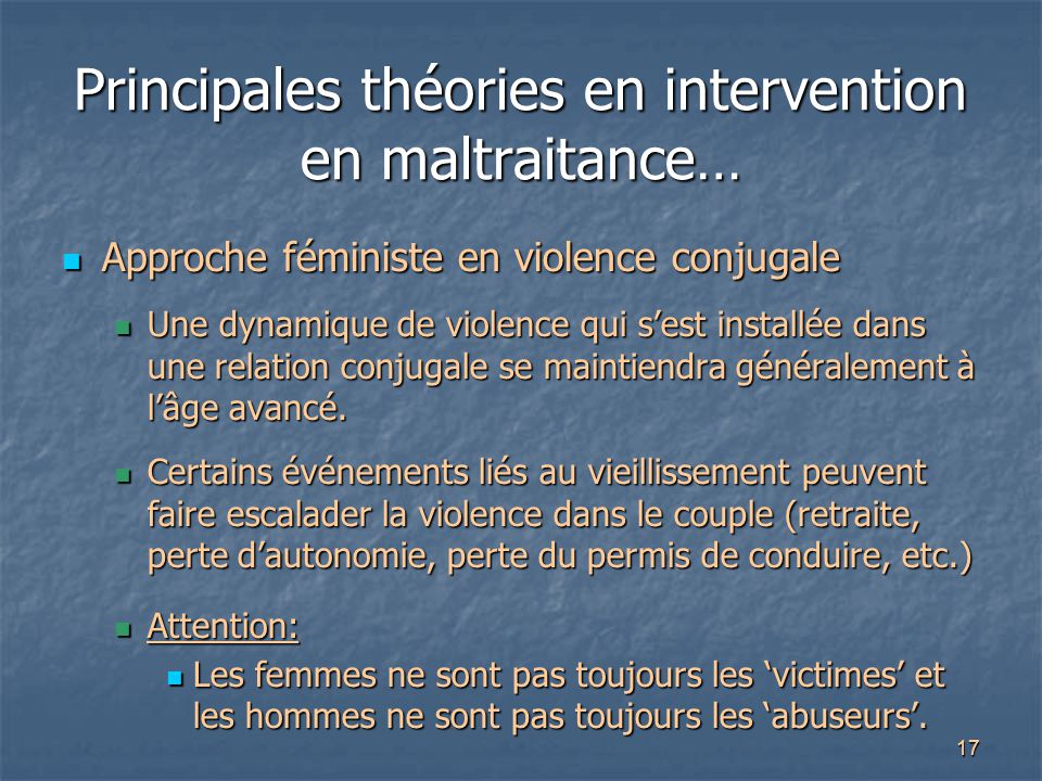 Principales théories en intervention en maltraitance…