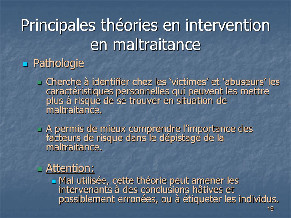 Principales théories en intervention en maltraitance