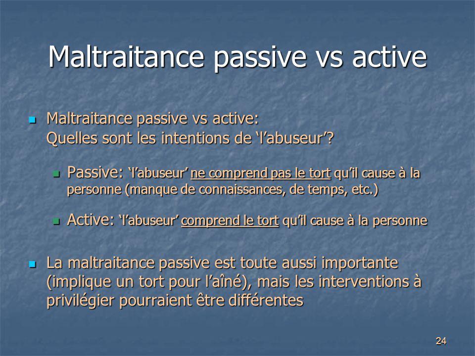 Maltraitance passive vs active