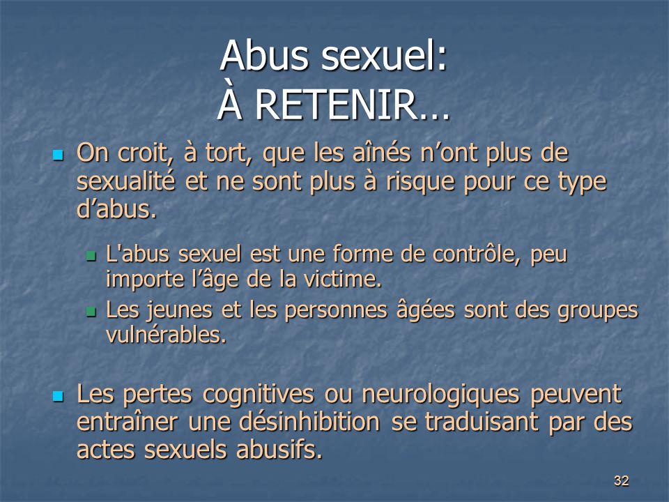 Abus sexuel: À RETENIR…