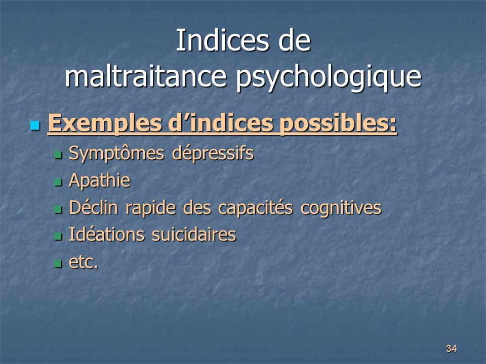 Indices de maltraitance psychologique