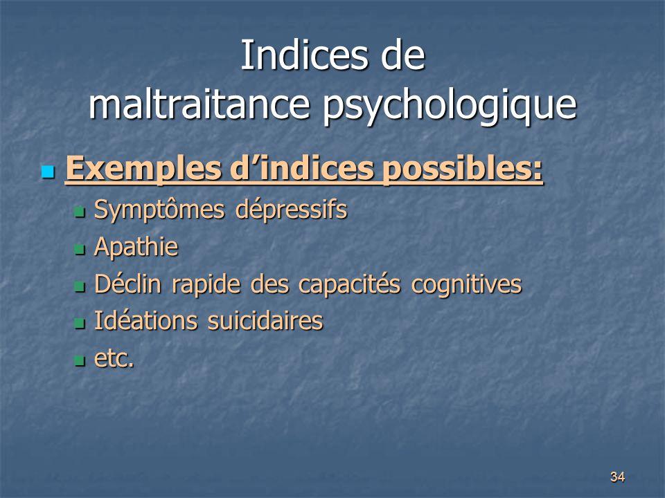 Indices de maltraitance psychologique