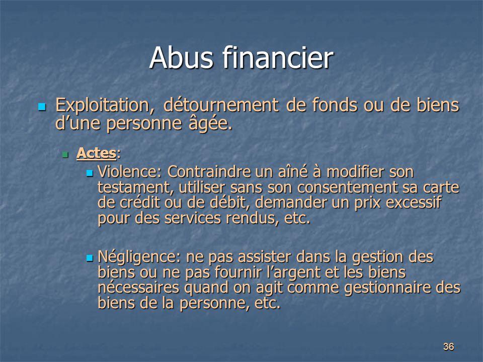 Abus financier Exploitation, détournement de fonds ou de biens d'une personne âgée. Actes: