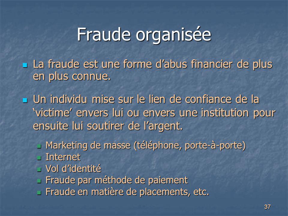 Fraude organisée La fraude est une forme d'abus financier de plus en plus connue.