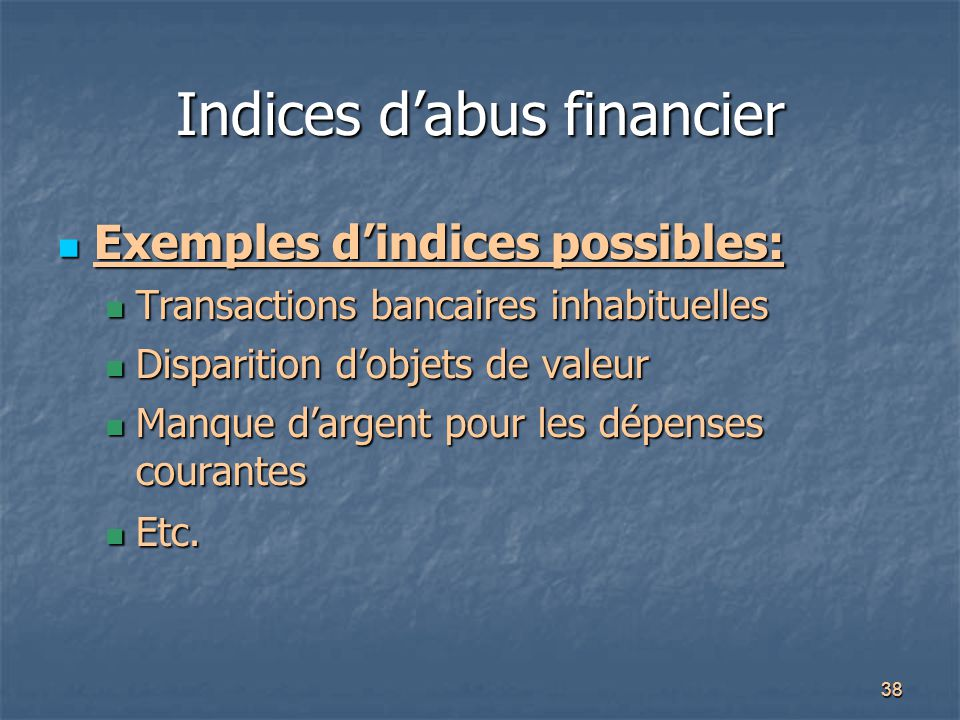 Indices d'abus financier