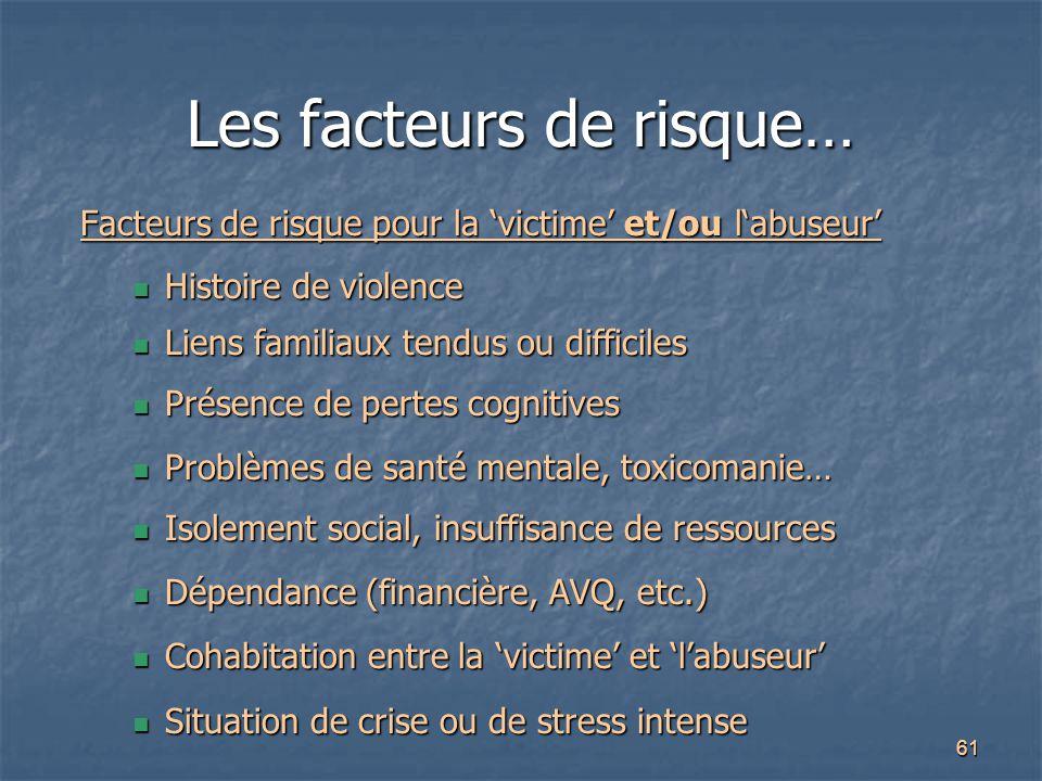 Les facteurs de risque…