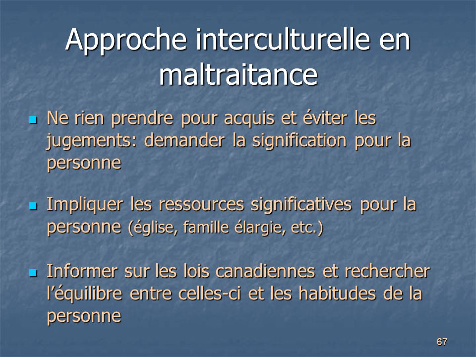 Approche interculturelle en maltraitance