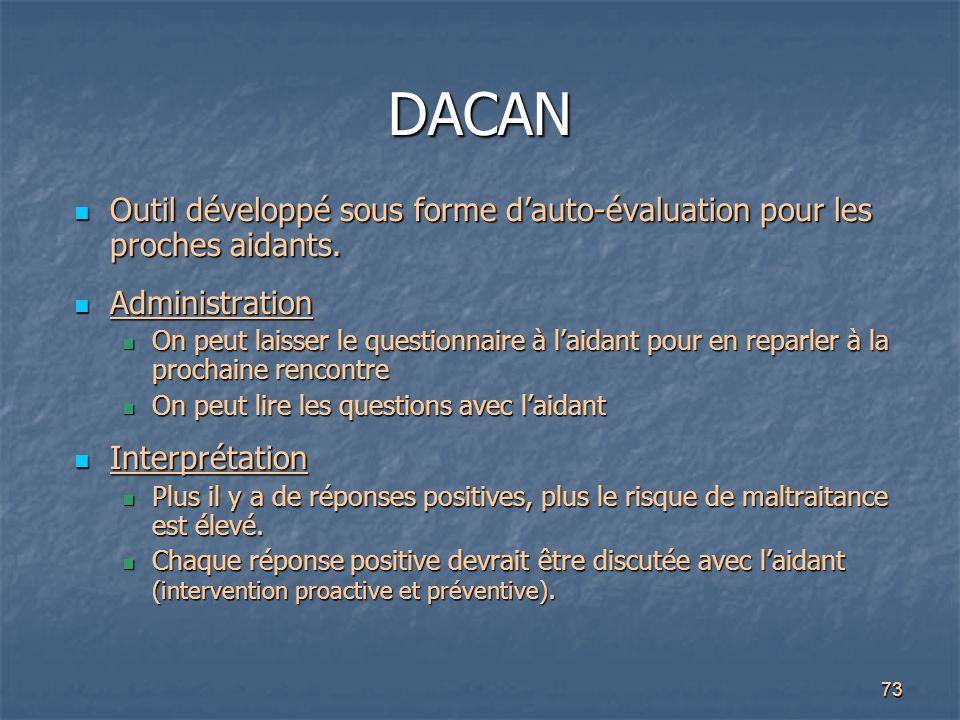 DACAN Outil développé sous forme d'auto-évaluation pour les proches aidants. Administration.