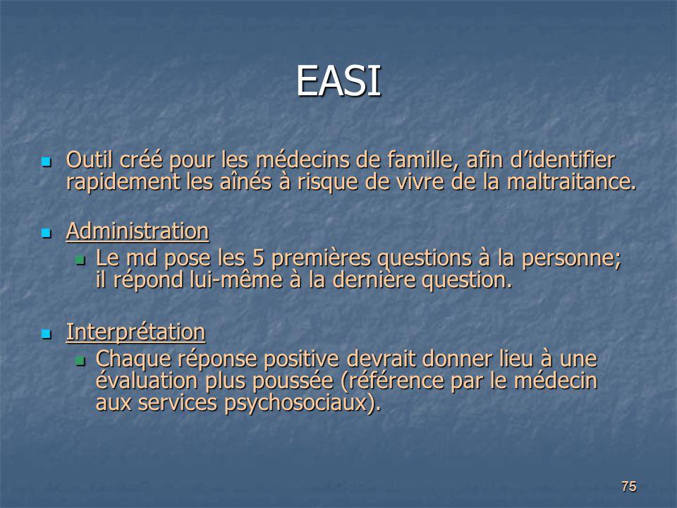 EASI Outil créé pour les médecins de famille, afin d'identifier rapidement les aînés à risque de vivre de la maltraitance.