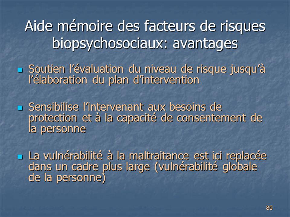 Aide mémoire des facteurs de risques biopsychosociaux: avantages