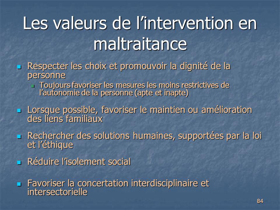 Les valeurs de l'intervention en maltraitance
