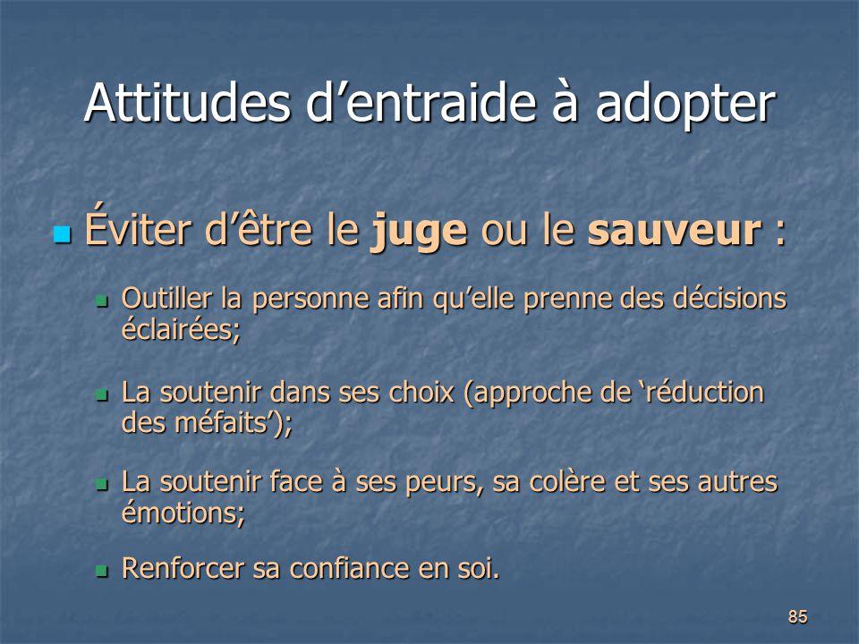 Attitudes d'entraide à adopter