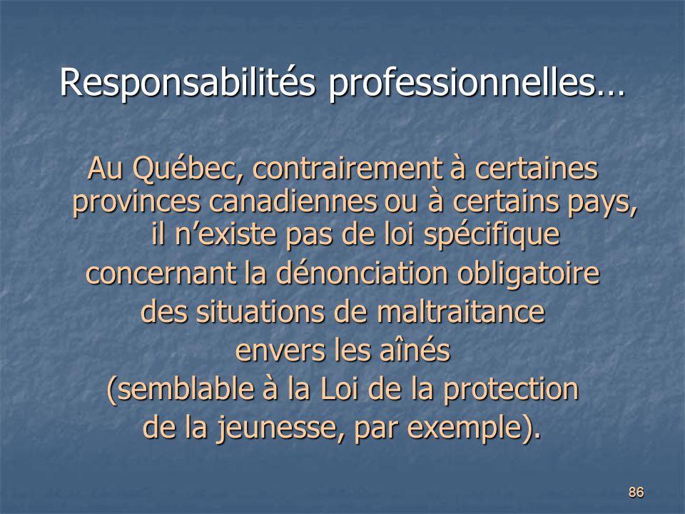 Responsabilités professionnelles…