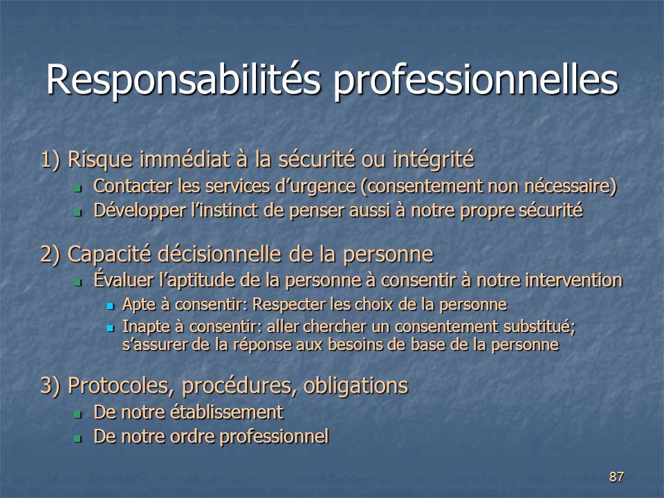Responsabilités professionnelles