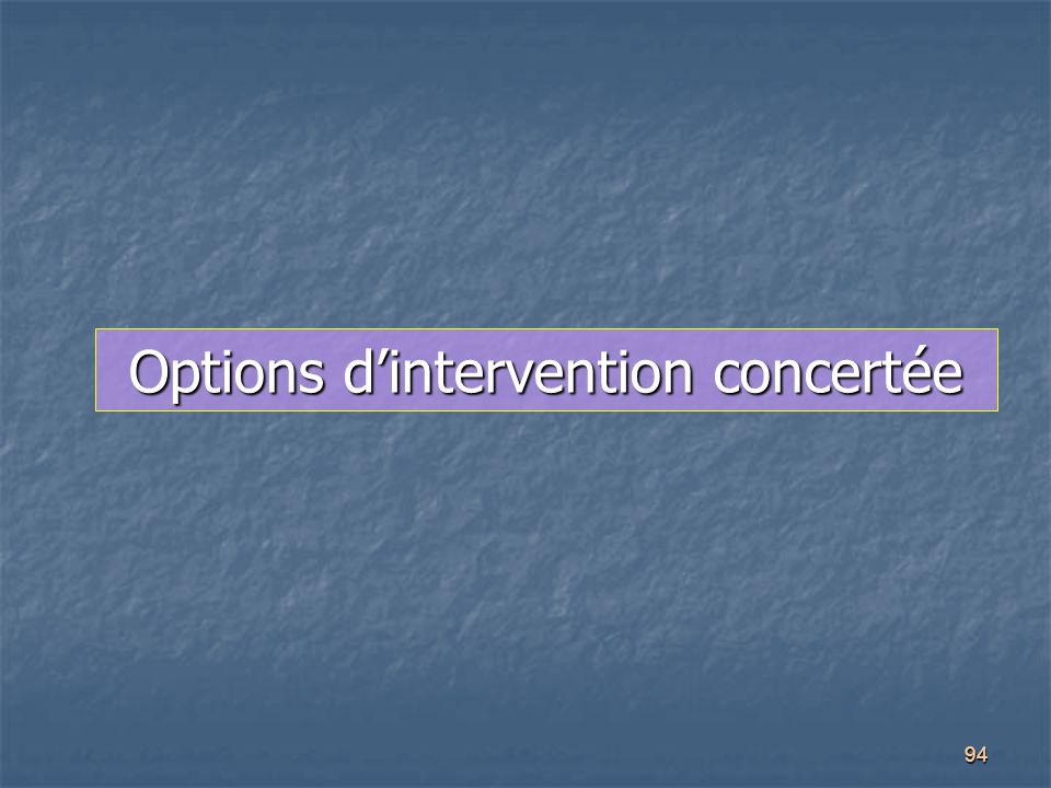 Options d'intervention concertée