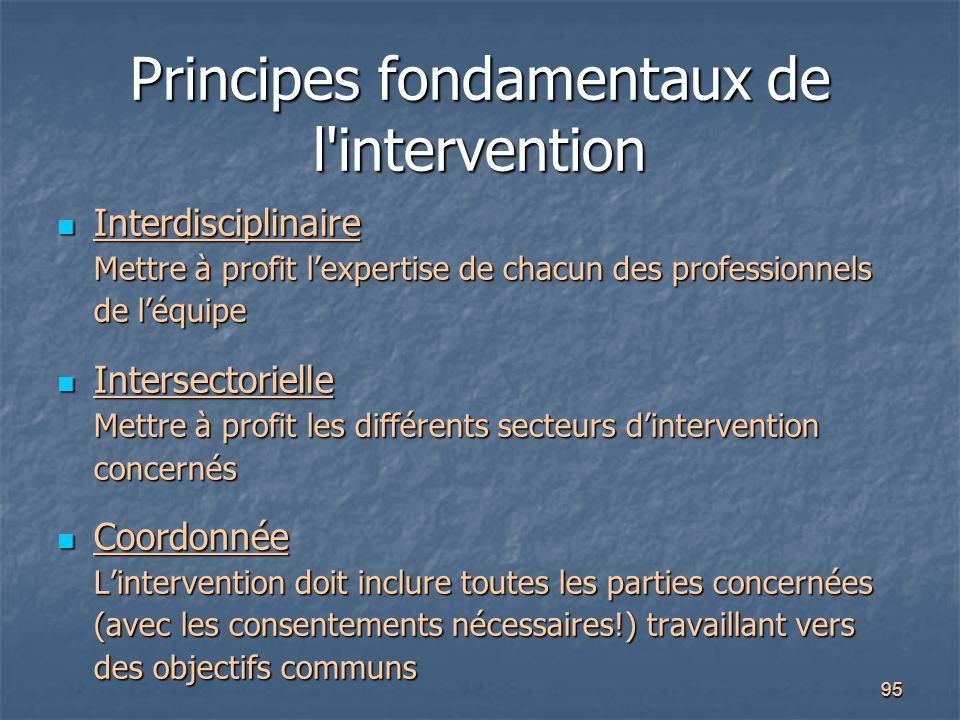 Principes fondamentaux de l intervention