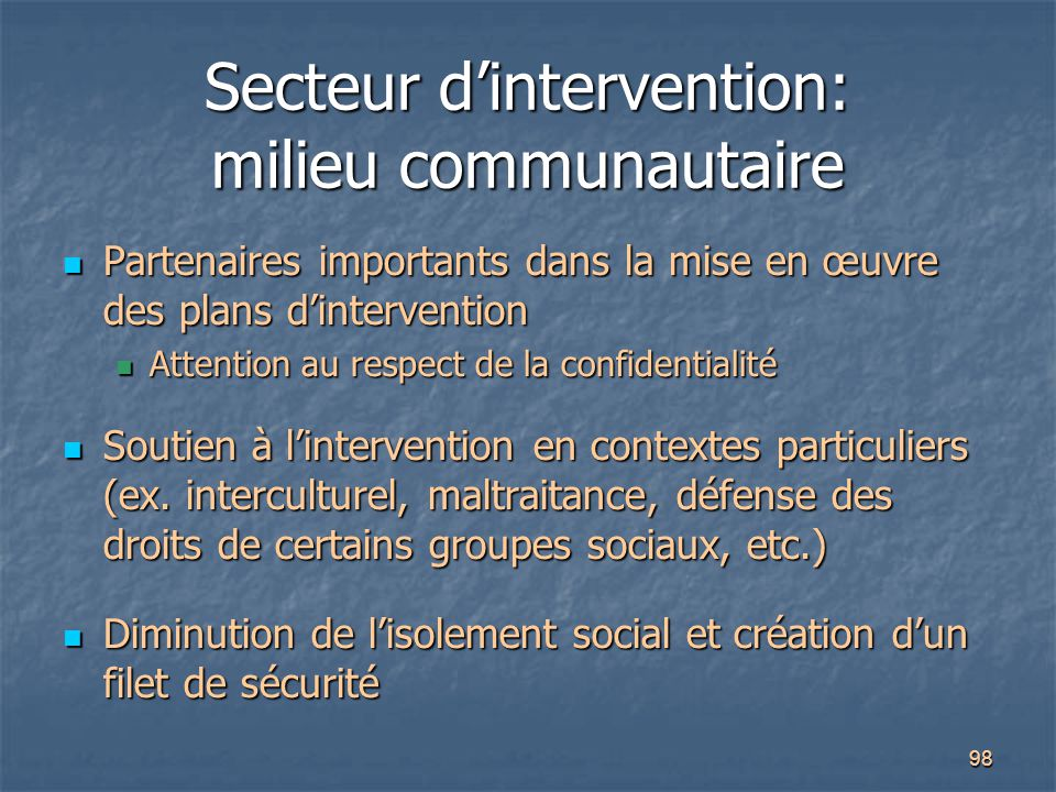Secteur d'intervention: milieu communautaire