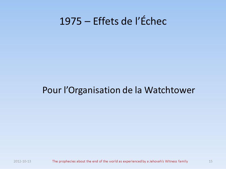 Pour l'Organisation de la Watchtower