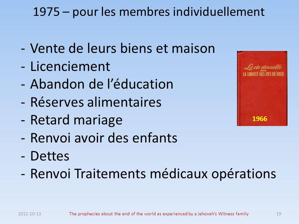 1975 – pour les membres individuellement