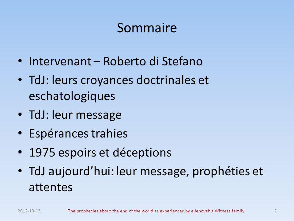 Sommaire Intervenant – Roberto di Stefano