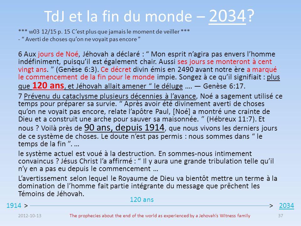 TdJ et la fin du monde – 2034 *** w03 12/15 p. 15 C'est plus que jamais le moment de veiller *** - Averti de choses qu'on ne voyait pas encore
