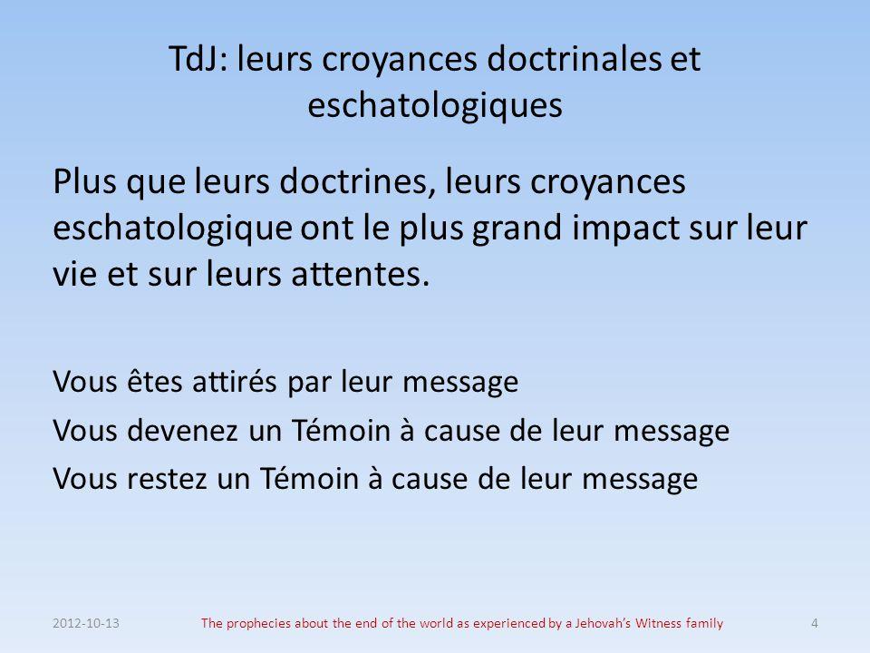 TdJ: leurs croyances doctrinales et eschatologiques