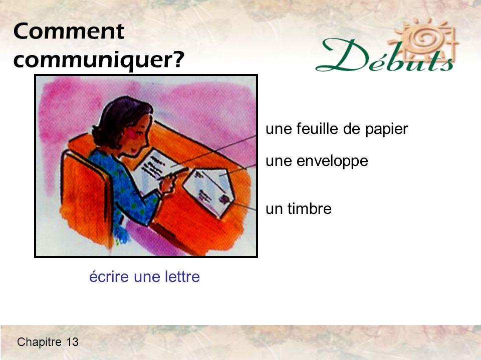 Comment communiquer une feuille de papier une enveloppe un timbre