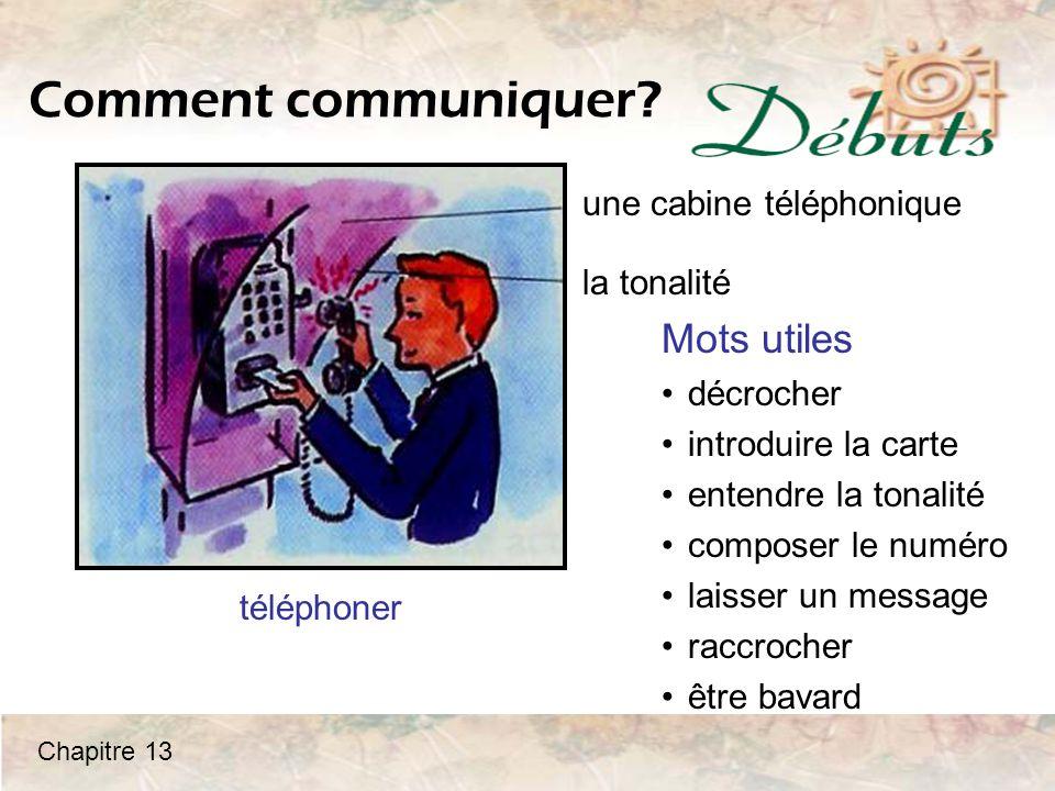 Comment communiquer Mots utiles une cabine téléphonique la tonalité