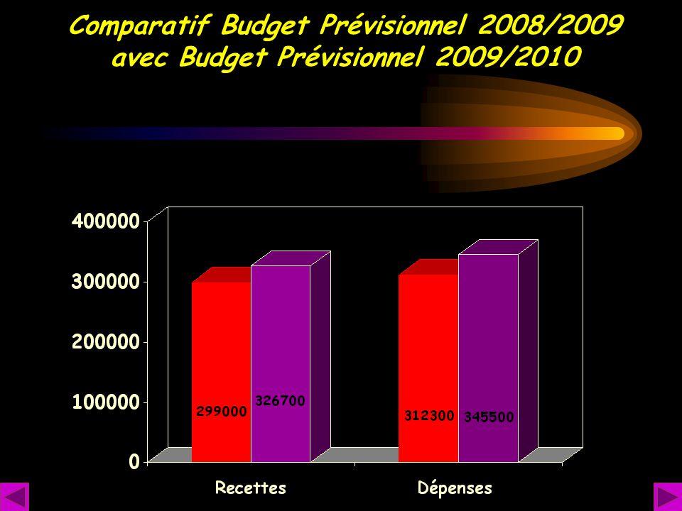 Comparatif Budget Prévisionnel 2008/2009 avec Budget Prévisionnel 2009/2010