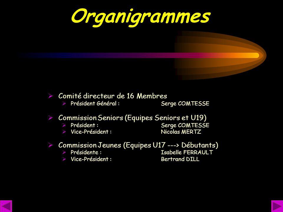Organigrammes Comité directeur de 16 Membres