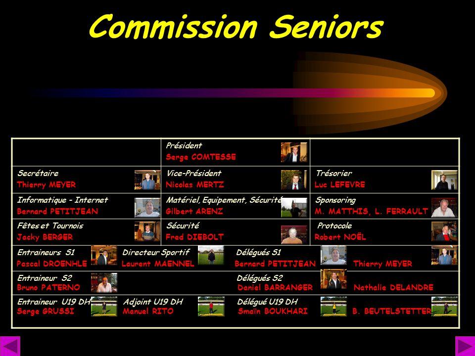 Commission Seniors Président Serge COMTESSE Secrétaire Thierry MEYER