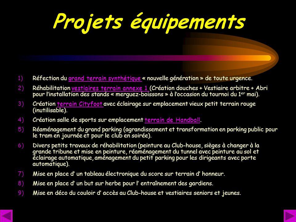 Projets équipements Réfection du grand terrain synthétique « nouvelle génération » de toute urgence.