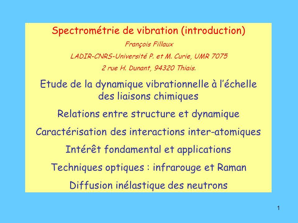 Spectrométrie de vibration (introduction)
