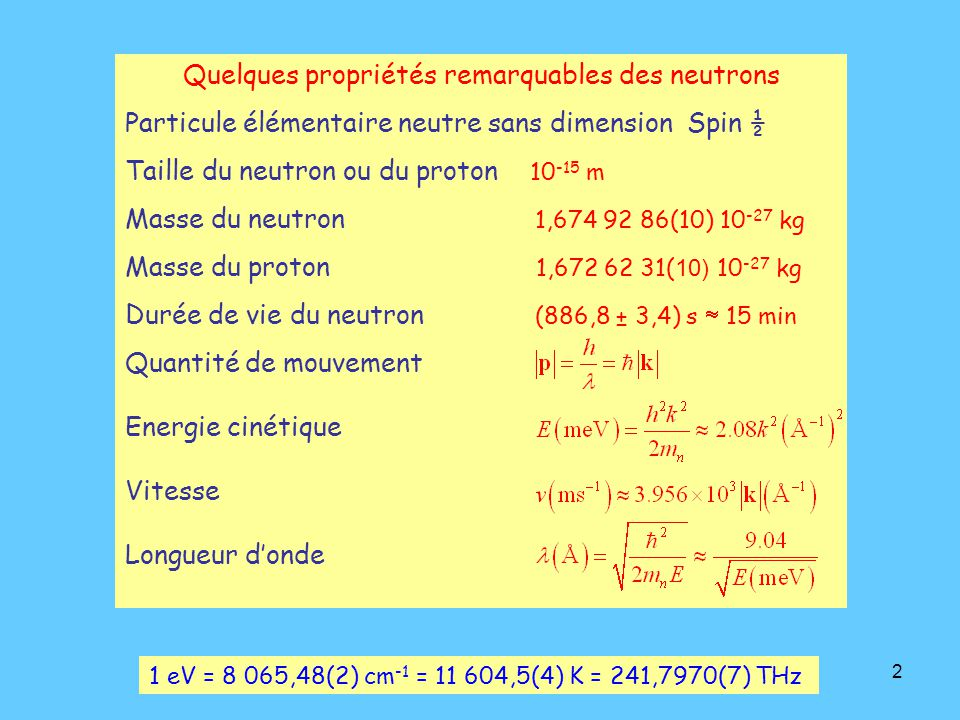 Quelques propriétés remarquables des neutrons