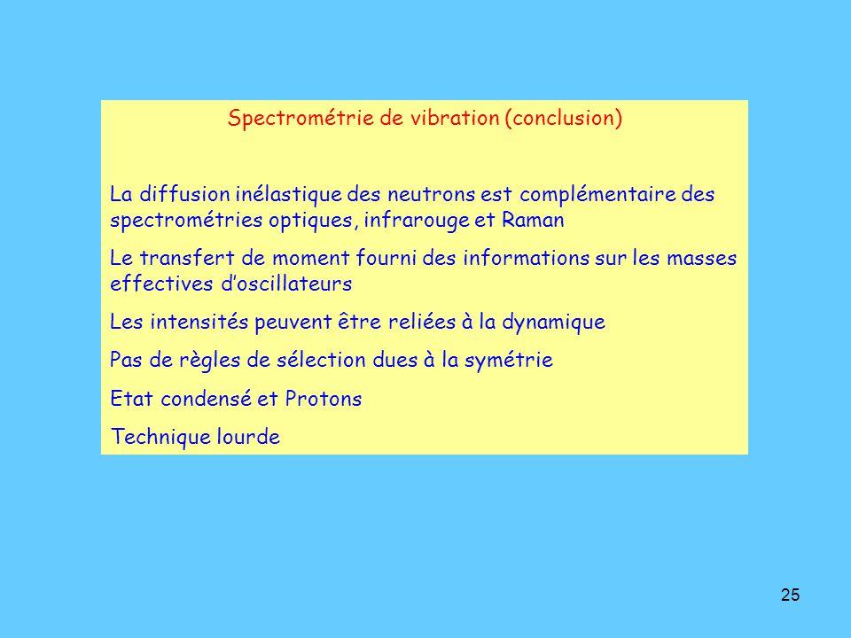 Spectrométrie de vibration (conclusion)