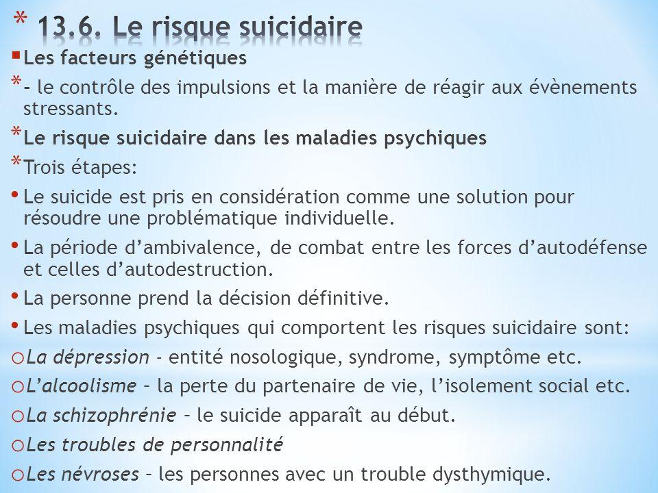 13.6. Le risque suicidaire Les facteurs génétiques